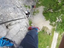 Những bước đầu tiên của parcours Via Ferrata Grenoble